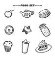 hand drawn set of breakfast food sketch concept vector image