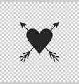heart with arrow icon isolated on transparent vector image vector image