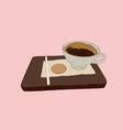 hot coffe with cookie on wood tray sketch vector image vector image