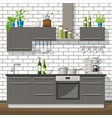 interior equipment of a modern kitchen vector image vector image