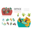 isometric office interior elements set vector image