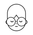 line boy face with glasses and hairstyle design vector image vector image