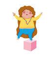 little cute girl cartoon on toy cube isolated icon vector image vector image