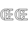 logo sign ec ce icon sign two interlaced letters vector image vector image