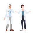 male and female physicians wearing white coats vector image vector image