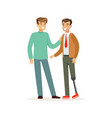 meeting of friends two men talking one man with vector image vector image