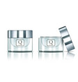 open and close glossy silver glass jar cosmetics vector image vector image