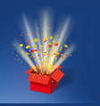 open red gift box and colour confetti bright rays vector image vector image
