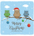 owls with colored balls and lettering merry vector image vector image