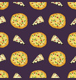 pizza seamless pattern hand drawn sketch whole vector image vector image