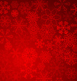 Red christmas snowflakes background with lights vector image vector image