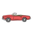 red retro convertible car with vector image
