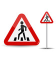 road sign warning in red triangle man at vector image vector image