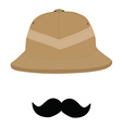 Safari hat and mustache vector image vector image