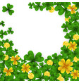 saint patrick s day frame with green and gold four vector image vector image