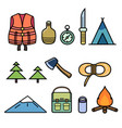 set icons on theme hiking vector image