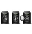 set of realistic black washing machines vector image vector image