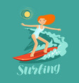 surfer girl and wave surfing vector image