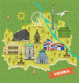 travel map vienna austria with landmarks vector image