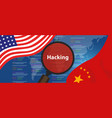 usa china hacking cyber espionage chinese hacker vector image vector image