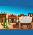 wooden wagon and building in desert vector image vector image