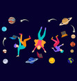 young college students floating in space with vector image