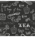 Black and white tea time pattern vector image