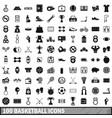 100 basketball icons set simple style vector image vector image