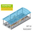 3d isometric train station and city map vector image vector image