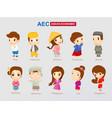 aec - asean economic community cartoon character vector image