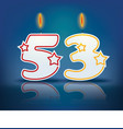 Birthday candle number 53 vector image vector image