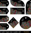 Black hippie tags set vector image vector image