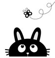 black rabbit bunny face head silhouette looking vector image