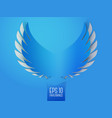 Blue paper angel wings emblem vector image