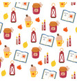 bright autumnal cartoon pattern white background vector image vector image