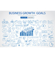 Business Growth Goals concet with Doodle design vector image