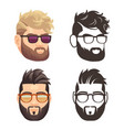 cartoon and silhouette bearded hipster man set vector image