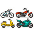 cartoon bicycle scooter and motorbikes set vector image