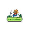 Chicken Farmer Pitchfork Vegetables Cartoon vector image vector image
