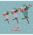 Christmas deer in sweater with gifts vector image vector image