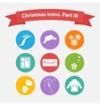 Christmas icons in a flat style vector image vector image