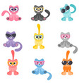 collection colorful cartoon cats with glasses vector image vector image
