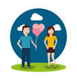 couple happy man holding balloons and happy woman vector image