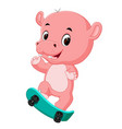 cute hippo playing skateboard vector image vector image