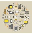 Electronics Technology Line Art Thin Icons Set vector image vector image