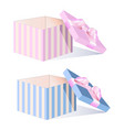 empty box with a pink bow vector image vector image