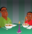 father son black dinner vector image vector image