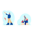 fishermen in warm clothes and earflaps hat fishing vector image vector image