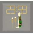flat shading style icon champagne christmas clock vector image vector image