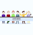 group of young casual or hipster men in trendy vector image